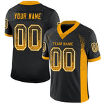 Custom Black Gold-White Mesh Drift Fashion Football Jersey