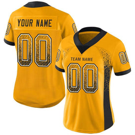 Custom Gold Black-White Mesh Drift Fashion Football Jersey