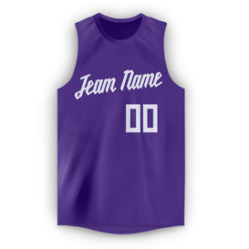 Custom Purple White Round Neck Basketball Jersey