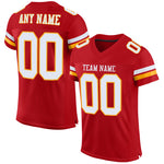 Custom Red White-Gold Mesh Authentic Football Jersey