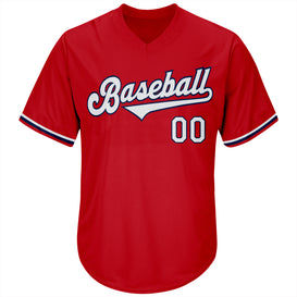 Custom Red White-Navy Authentic Throwback Rib-Knit Baseball Jersey Shirt