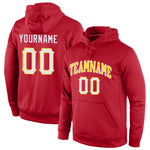 Custom Stitched Red White-Gold Sports Pullover Sweatshirt Hoodie