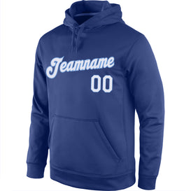 Custom Stitched Royal White-Light Blue Sports Pullover Sweatshirt Hoodie