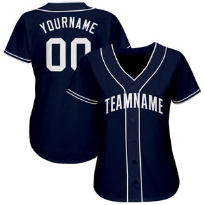 Custom Navy White Baseball Jersey