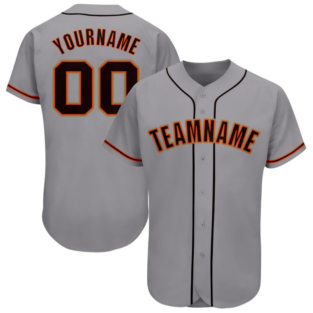Custom Gray Black-Orange Baseball Jersey