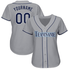 Custom Gray Navy-Powder Blue Baseball Jersey