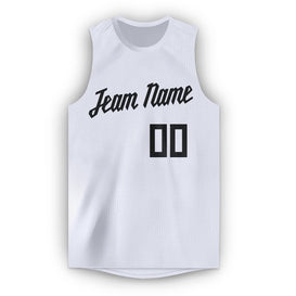 Custom White Black Round Neck Basketball Jersey