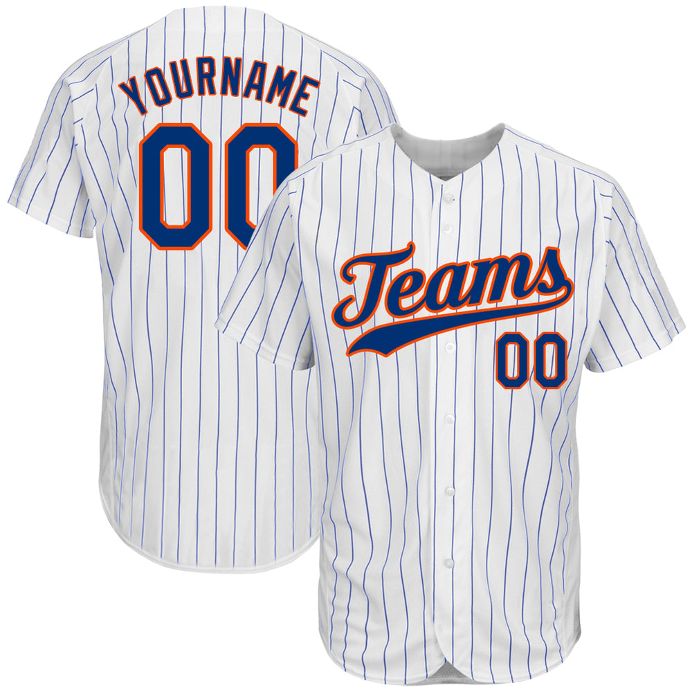 Custom White Royal Strip Royal-Orange Authentic Baseball Jersey