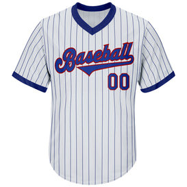 Custom White Royal Strip Royal-Red Authentic Throwback Rib-Knit Baseball Jersey Shirt