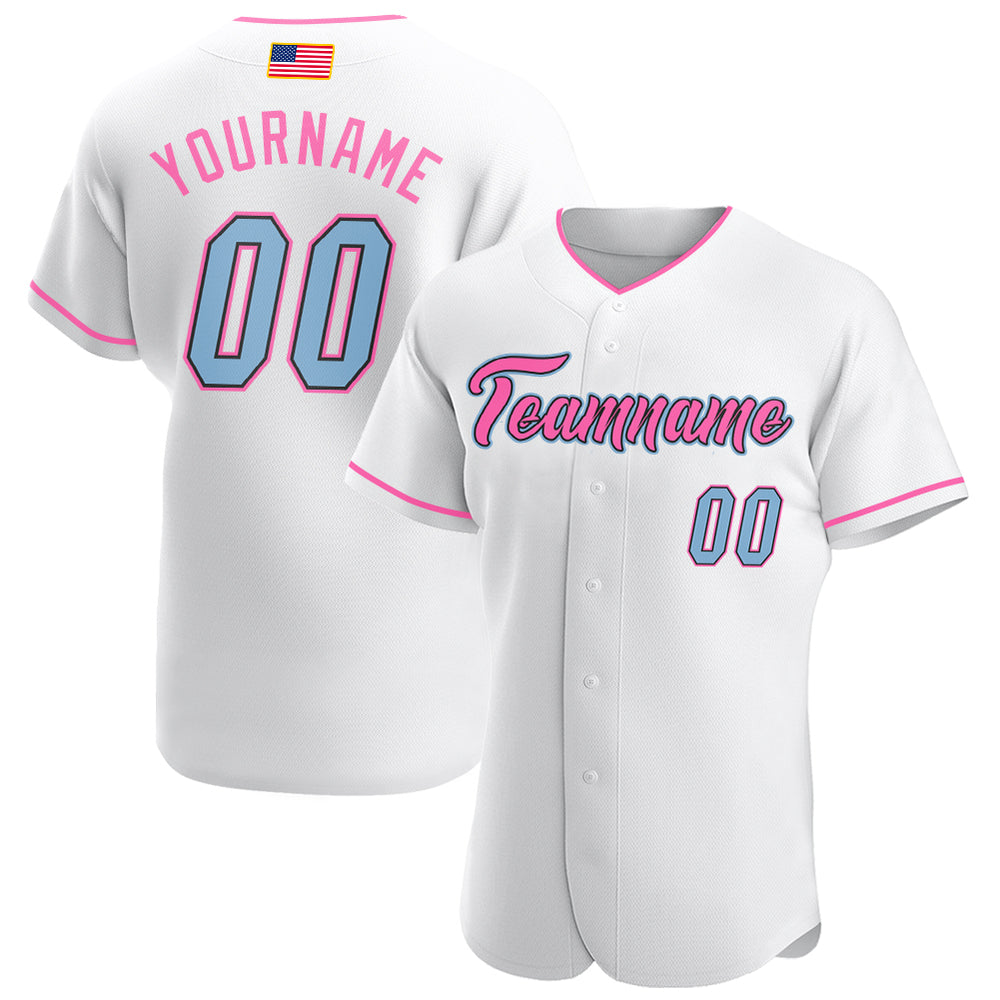 Custom White Light Blue-Pink Authentic American Flag Fashion Baseball Jersey