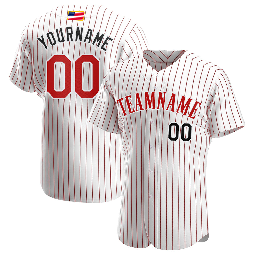 Custom White Red Strip Red-Black Authentic American Flag Fashion Baseball Jersey