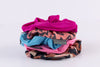 Aura7 Activewear scrunchies in assorted colors stacked