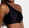 Aura7 Activewear Hermosa one shoulder Sports Bra side profile close up