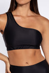 Aura7 Activewear Hermosa one shoulder Sports Bra front profile close up