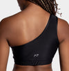Aura7 Activewear Hermosa one shoulder Sports Bra back profile close up