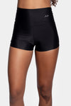 Aura7 Activewear high waisted rigel short front profile close up