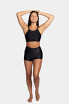 Aura7 Activewear high waisted rigel short front profile in motion