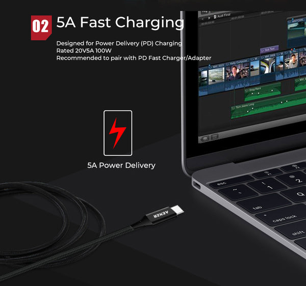 AENZR 5A USB-C 3.1 Gen 2 Fast Charging Fast Data Cable