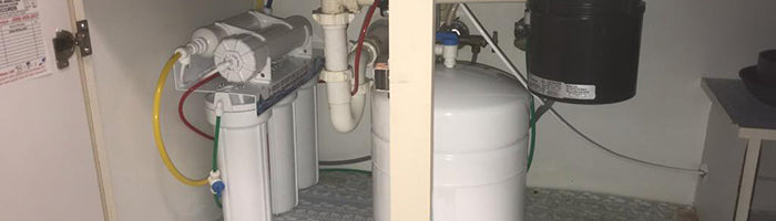 RO system installed under the kitchen sink