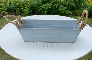 Rectangle Galvanised Zinc Metal Flower Pot With Rope Handle