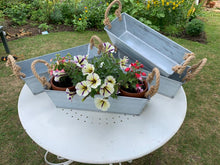 Load image into Gallery viewer, Rectangle Galvanised Zinc Metal Flower Pot With Rope Handle