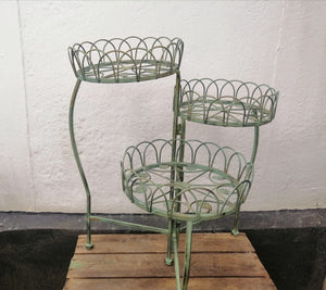 Rustic Green Metal 3 Tier Pot Stand