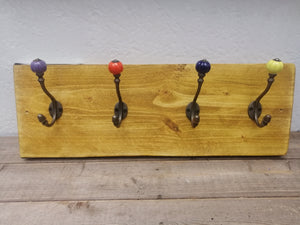 Scaffold Board Mounted.  Multi-Coloured Hat & Coat Hooks