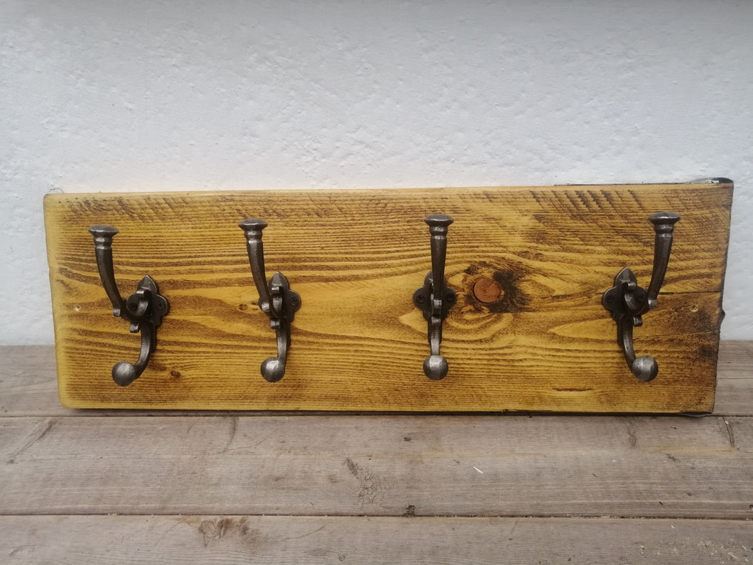 Scaffold Board Mounted.  Large Hat and Coat Hook Holder