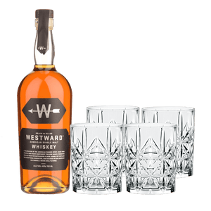 Westward Single Malt + 4 rocks glasses