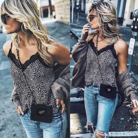 Women Sleeveless V Neck Leopard Snake Skin Print Camis Lace Crochet Slim Club Party Tank Tops