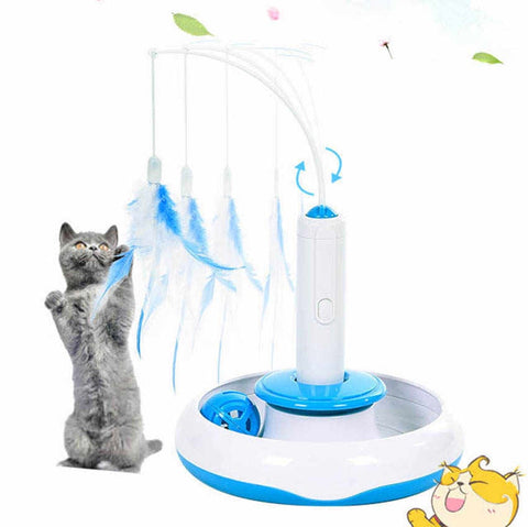 Pet Cat Toys Feather Teaser Detachable Electric Play with Cat 360 Spinning Chew Toys for Pets Puzzle Playing Toys