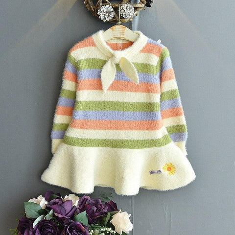 Children Clothing New Kids Knitted Dresses for Girls Autumn Winter Striped Rainbow Carrot Girl Princess Party Dress 1-6T Vestido - www.terndeals.com online shopping canada