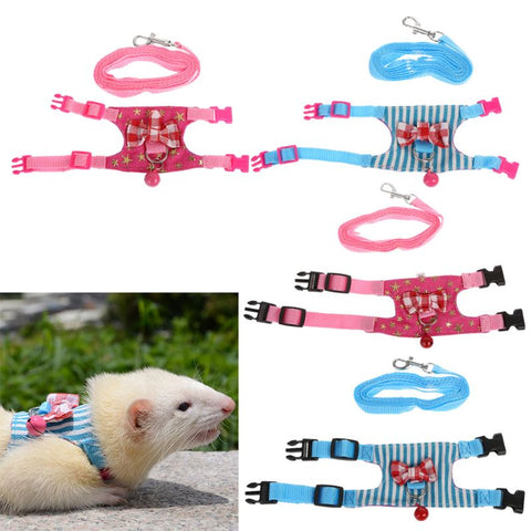 Hamster Rabbit Harness Leash Set For With Chest Strap T7