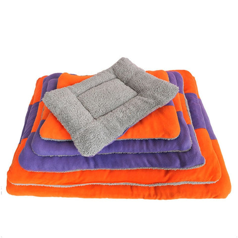 Striped Breathable Sleep Mat For Cat Dog Winter Foldable Fleece Soft Warm T7
