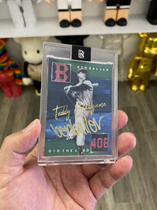"1 OF 5 TED WILLIAMS ""BEN BALLER"" TOPPS PROJECT 2020 AUTOGRAPHED CARD IN GOLD INK"