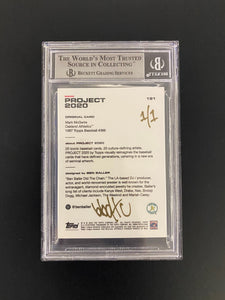 "1 OF 1 GOLD ""BEN BALLER"" AUTOGRAPHED MARK MCGWIRE TOPPS PROJECT 2020 CARD"