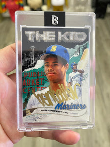 "1 OF 5 KEN GRIFFEY JR. ""BEN BALLER"" TOPPS PROJECT 2020 AUTOGRAPHED CARD IN GOLD INK"