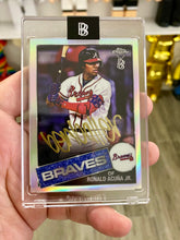 Load image into Gallery viewer, TOPPS X BBDTC CHROME 2020 BEN BALLER AUTOGRAPHED RONALD ACUNA JR 1985 INSERT CARD