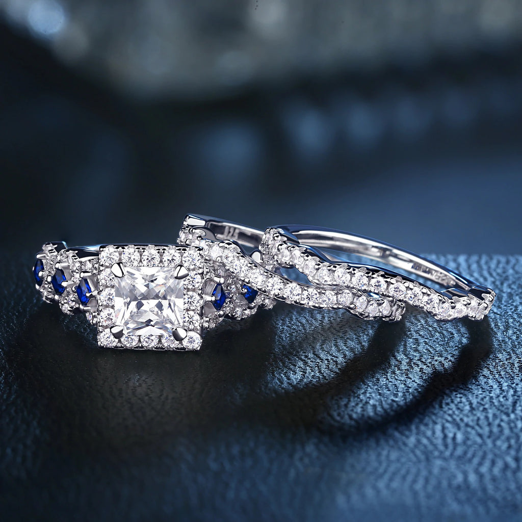 2.6 Ct White Blue AAA CZ Engagement Rings
