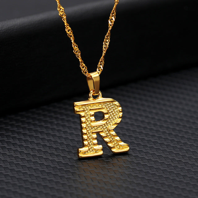 18k Gold Initial Letter Necklace