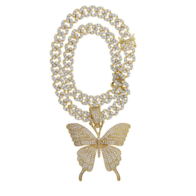 Cuban Link Butterfly Necklace