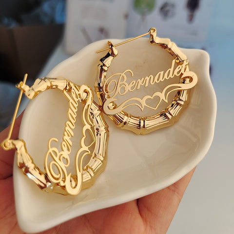 Bamboo Earrings Customize Name Earrings