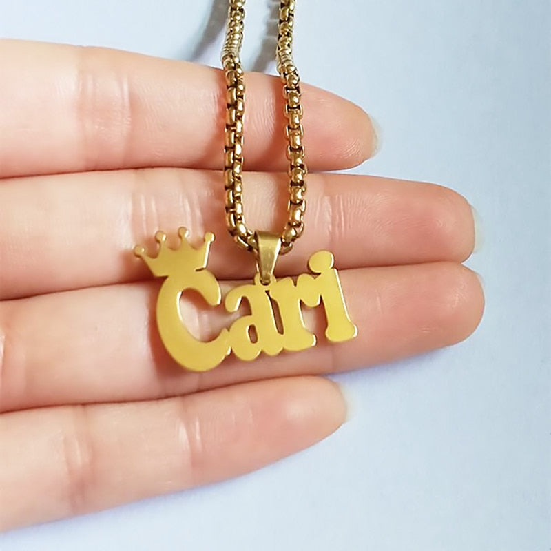 Personalized Name Crown Necklace
