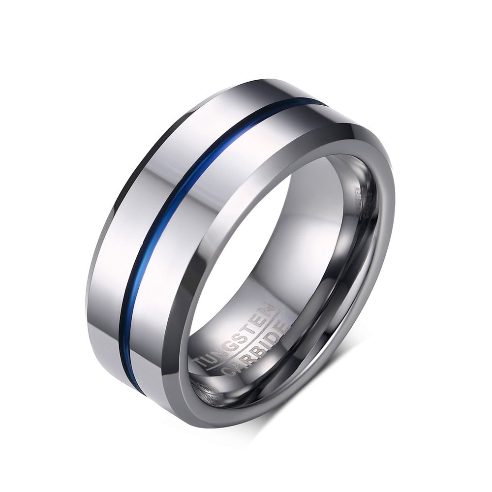 8mm Carbide Blue Line  Tungsten Rings