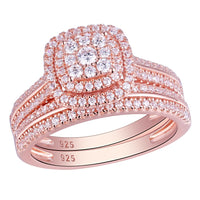 1.6Ct 2Pcs Rose Gold Color Wedding Rings