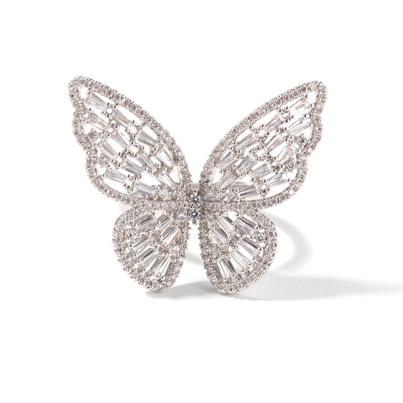 Adjustable band Iced Out Butterfly Ring