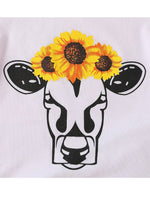 Load image into Gallery viewer, 2-Piece Girls Bull T-shirt & Sunflower Bell Bottom Pants