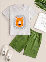 Load image into Gallery viewer, 2-Piece Boys Lion T-Shirt with Matching Elephant Printed Shorts