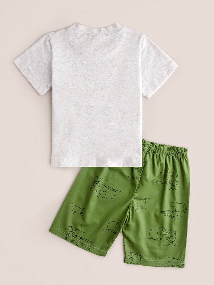 2-Piece Boys Lion T-Shirt with Matching Elephant Printed Shorts