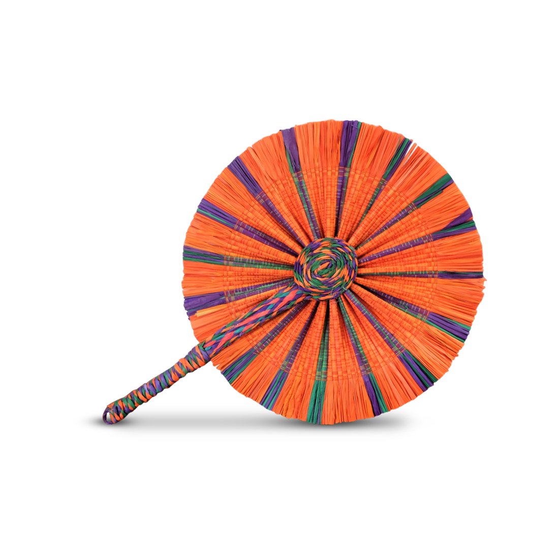 Raffia Round Fan - Orange Purple Green